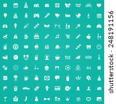 100 birthday icons  white on... | Shutterstock . vector #248191156