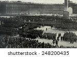 Russian army officers take the oath of allegiance to the October Revolution. 1917. Soldiers gathered in the square of the Winter Palace, many of whom previously supported the Provisional Government.