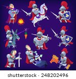 set of noble knights in tricky... | Shutterstock .eps vector #248202496