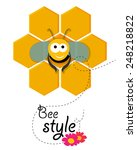 cute smiling bee siting in a... | Shutterstock .eps vector #248218822