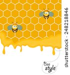 cute pair of smiling bees... | Shutterstock .eps vector #248218846