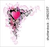 Heart of love. Vector Corner - stock vector