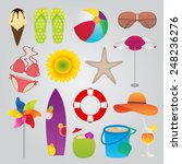 summer and travel icons set | Shutterstock .eps vector #248236276