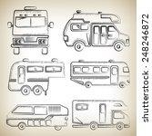 sketch camper van  camping truck | Shutterstock .eps vector #248246872