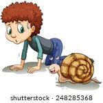 A Boy Following The Snail On A...