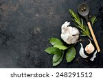 dark culinary background with a ... | Shutterstock . vector #248291512