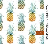 Watercolor  Tropical  Pineapple ...