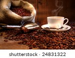coffee cup with burlap sack of... | Shutterstock . vector #24831322
