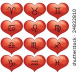 valentine vector zodiac signs   Shutterstock .eps vector #24832810