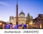 St. Peter Basilica at Christmas in Rome, Italy - stock photo