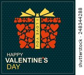 gift box with hearts on... | Shutterstock .eps vector #248344288