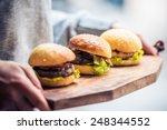 three delicious hamburgers on... | Shutterstock . vector #248344552
