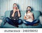 funny mom and daughter with... | Shutterstock . vector #248358052
