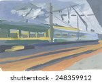 Train At A Station Painting