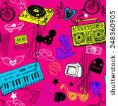 sketchy music doodles in... | Shutterstock .eps vector #248360905