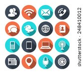communication icons with shadow | Shutterstock .eps vector #248410012