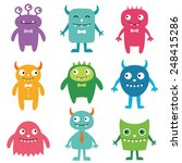 friendly monsters vector set | Shutterstock .eps vector #248415286