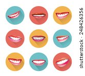 smiles icons set with long...