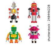 cute retro robot set 1 | Shutterstock .eps vector #248446228