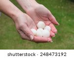 Big Hail In Hands After Storm
