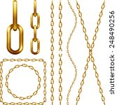 Set Of Golden Chain  Isolated...