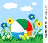beach ball is lost among grass... | Shutterstock .eps vector #24851227