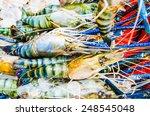 fresh shrimp at seafood market  ... | Shutterstock . vector #248545048