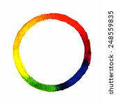 Circle Rainbow With Watercolor...