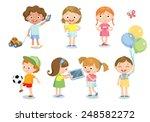 children with toys  | Shutterstock .eps vector #248582272