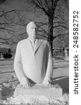 Small photo of MOSCOW, RUSSIA - JANUARY 06, 2015: Monument to Soviet leader (General Secretary) Leonid Ilyich Brezhnev in Muzeon Art Park in Moscow, Russia. Sculptors Dumanyan and Orekhov, circa 1970s