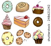a collection of pastry | Shutterstock . vector #248621242