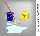 wet floor sign with drop water  ...   Shutterstock .eps vector #248650768