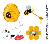 collection of honey related... | Shutterstock .eps vector #248651395