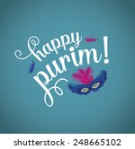 happy purim with feathered mask.... | Shutterstock .eps vector #248665102