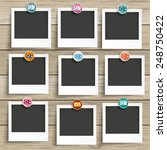 9 photo frames with camera...   Shutterstock .eps vector #248750422