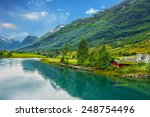 norway. country houses in... | Shutterstock . vector #248754496