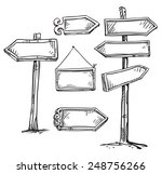 set of signboards. hand drawn.  | Shutterstock .eps vector #248756266