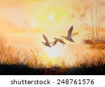 Oil Painting  Cranes At Sunset