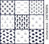 Navy Vector Seamless Patterns...