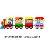 happy kids on a colorful train | Shutterstock . vector #248782045