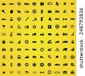 100 auto icons  black on yellow ... | Shutterstock . vector #248792836