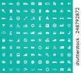 100 auto icons  white on green... | Shutterstock . vector #248792872