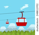 Picture Of Red Ropeway Cabines...