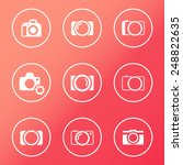 camera white round icons vector ...