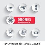 drones round icons with shadow...