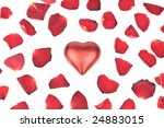 heart with red  petals on white ... | Shutterstock . vector #24883015