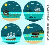 Flat Design Of Pirate Ships...
