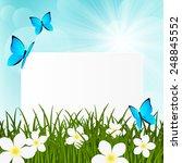 greeting card on green grass | Shutterstock . vector #248845552