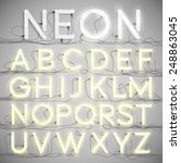 realistic neon alphabet with... | Shutterstock .eps vector #248863045