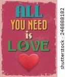 valentine's day poster. retro... | Shutterstock .eps vector #248888182